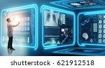 man doctor in futuristic... | Shutterstock . vector #621912518