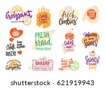 hand drawn bakery logotypes set ... | Shutterstock .eps vector #621919943
