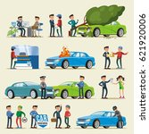 car insurance characters set... | Shutterstock .eps vector #621920006