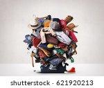 big heap of different clothes... | Shutterstock . vector #621920213