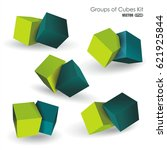 vector set of blue and green 3d ... | Shutterstock .eps vector #621925844