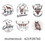 wild animal badges set.... | Shutterstock .eps vector #621928760