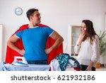 super hero man husband ironing...   Shutterstock . vector #621932186