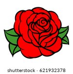 flower rose  red buds and green ... | Shutterstock .eps vector #621932378