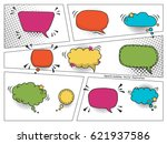 colorful comic speech bubbles... | Shutterstock .eps vector #621937586