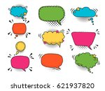 colorful comic speech bubbles... | Shutterstock .eps vector #621937820