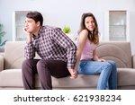 young family in broken... | Shutterstock . vector #621938234