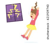 cute little scared girl with... | Shutterstock .eps vector #621939740