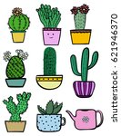 set of doodle hand drawn color... | Shutterstock .eps vector #621946370