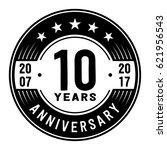 10 years anniversary logo... | Shutterstock .eps vector #621956543
