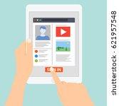 tablet hands type working using ... | Shutterstock .eps vector #621957548