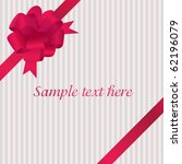 greeting card with red satin...   Shutterstock .eps vector #62196079