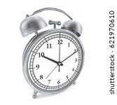 old style alarm clock isolated... | Shutterstock . vector #621970610