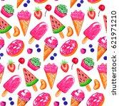 ice cream fruit berry bakery... | Shutterstock . vector #621971210