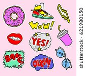 fashion patch badges with ... | Shutterstock .eps vector #621980150
