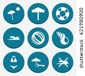 set of 9 beach filled icons... | Shutterstock .eps vector #621980900