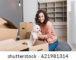 moving to new modern apartment... | Shutterstock . vector #621981314