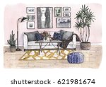 hand painted watercolor... | Shutterstock . vector #621981674