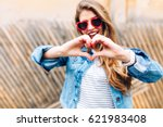 good looking girl with long... | Shutterstock . vector #621983408