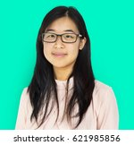 young adult asian girl smiling... | Shutterstock . vector #621985856