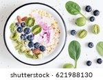 smoothie bowl with acai berry ... | Shutterstock . vector #621988130