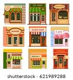 flat style cafe restaurant shop ... | Shutterstock .eps vector #621989288