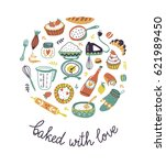 bakery retro card with dots and ... | Shutterstock .eps vector #621989450
