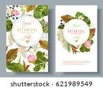 vector tropical plants vertical ... | Shutterstock .eps vector #621989549
