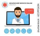 healthcare service online.... | Shutterstock .eps vector #621991634