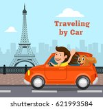 travel on the car  ... | Shutterstock . vector #621993584