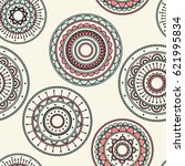 seamless round ornament pattern.... | Shutterstock .eps vector #621995834
