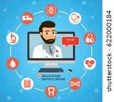 healthcare service online.... | Shutterstock .eps vector #622000184
