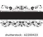 vector banner with roses in black and white colors - stock vector