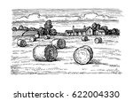 Rural Landscape With Hay Bales...