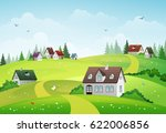 rural summer landscape with... | Shutterstock .eps vector #622006856