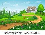 farmhouse on green hill. summer ... | Shutterstock .eps vector #622006880