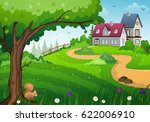 rural landscape with green... | Shutterstock .eps vector #622006910