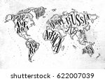 vintage worldmap with... | Shutterstock .eps vector #622007039