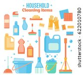 vector cleaning items in flat... | Shutterstock .eps vector #622010780