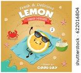 vintage fruit poster beach... | Shutterstock .eps vector #622016804