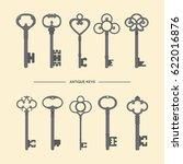 antique skeleton keys... | Shutterstock .eps vector #622016876