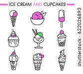 ice cream and cupcakes icon set.... | Shutterstock .eps vector #622026893