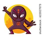 superhero spider sticker vector ... | Shutterstock .eps vector #622027073
