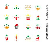 christmas icon set | Shutterstock .eps vector #622029278