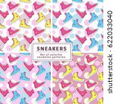 set of seamless patterns with... | Shutterstock .eps vector #622033040