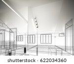 sketch design of interior space ... | Shutterstock . vector #622034360