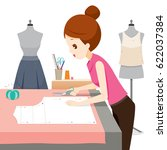 woman making clothes pattern ... | Shutterstock .eps vector #622037384
