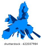 european union 3d vector map ... | Shutterstock .eps vector #622037984