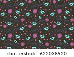raster hearts doodle pattern ...   Shutterstock . vector #622038920