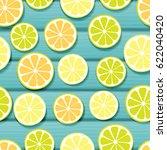 frame with slice of lemon ... | Shutterstock . vector #622040420